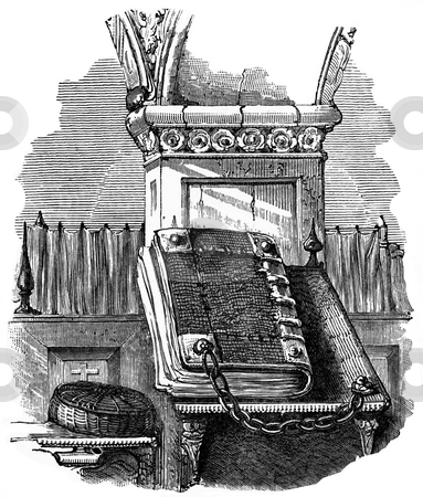 Holy bible stock photo, Engraving of holy bible chained to pulpit in Victorian church on white background. Published by William Andrews in,