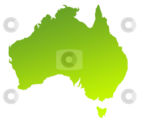 Australia map stock photo, Green gradient map of Australia isolated on a white background. by Martin Crowdy