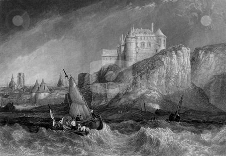 Dieppe coastline stock photo, Fishing boats off coast of Dieppe, France. Engraving by William Miller after Clarkson Stanfield, published in Heath's Picturesque Annual for 1834; Travelling Sketches on the Sea Coasts of France. Public domain image by virtue of age. by Martin Crowdy