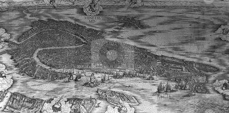 Aerial map of Venice stock photo, Aerial view of city of Venice, Veneto, Italy. Origianal woodcut by Jacopo de' Barbari in 1500 entitled,