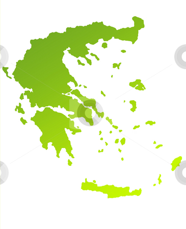 Greece stock photo, Green gradient map of Greece isolated on a white background. by Martin Crowdy
