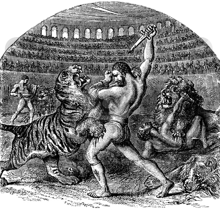 Gladiators fighting wild animals stock photo, Engraving of gladiators fighting wild tiger and lion in Colosseum Amphitheater, Rome. Published by D. Rose and edited by  H. W. Dulcken in book,  by Martin Crowdy