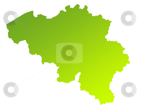 Belgium map stock photo, Green gradient map of Belgium isolated on a white background. by Martin Crowdy