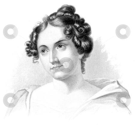 Catherine Sedgwick stock photo, Engraving of American author Catherine Marie Sedgwick on white background. Engravingby W. Croome, published in book,