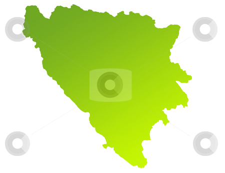 Bosnia and Herzegovina stock photo, Green gradient map of Bosnia and Herzegovina isolated on a white background. by Martin Crowdy