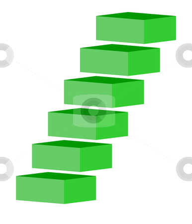 Green stairs stock photo, Green stairs or staircase, isolated on white background. by Martin Crowdy