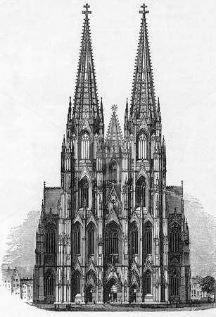 Cologne Cathedral stock photo, Engraving of Cologne Cathedral by unknow author published in Victorian book circa 1850. Public domain image by vitue of age. by Martin Crowdy