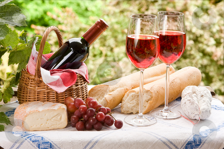 Country life stock photo, Country life setting with wine and fruit by Anneke