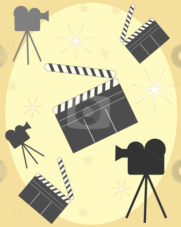 Clapperboard stock vector clipart, An illustration of clapperboards with cameras and lights on a gold background by Mike Smith