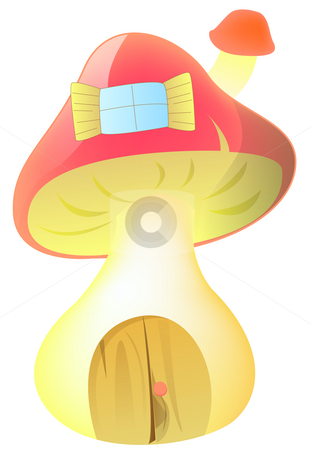 Mushroom house stock photo, Drawing of cartoon mushroom house in a white background by Su Li