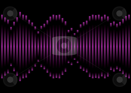 Purple music equaliser stock vector clipart, Music inspired graphic equaliser in pink and purple with black background by Michael Travers