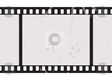 Film strip concept stock vector clipart, Illustrated film strip with grunge concept and dirty splats by Michael Travers