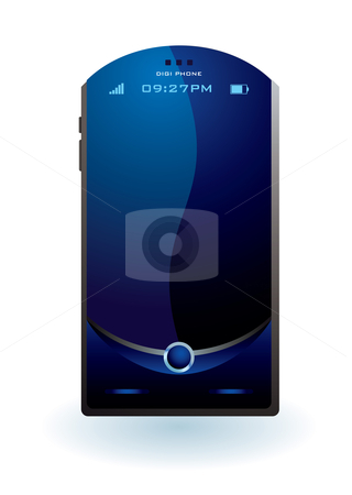 Mobile phone illustration stock vector clipart, Blue illustrated mobile phone concept with blank screen by Michael Travers