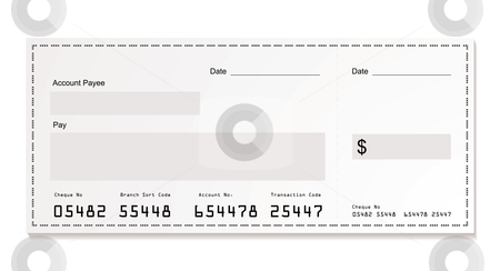 White dollar cheque stock vector clipart, Simple illustration of dollar white cheque with space for your own text by Michael Travers