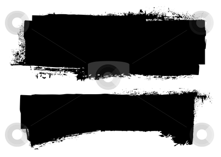 Grunge black ink banner stock vector clipart, Black grunge ink banner with paint roller effect by Michael Travers