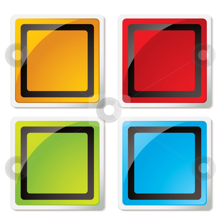 Modern square icon stock vector clipart, Colourful modern square icons with rounded corners and shadow by Michael Travers