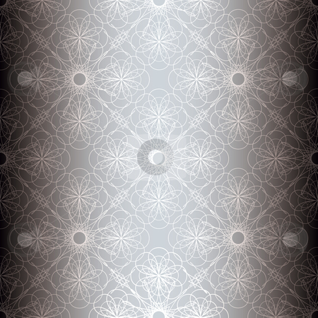Silver floral spiral background stock vector clipart, Silver floral abstract seamless background with repeat tile pattern by Michael Travers
