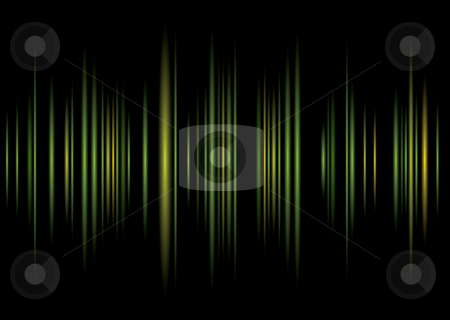 Equaliser green background stock vector clipart, Abstract green and black music graphic equaliser with copy space by Michael Travers