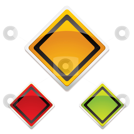 Warning sign trio stock vector clipart, Collection of three road warning signs with modern light reflection by Michael Travers