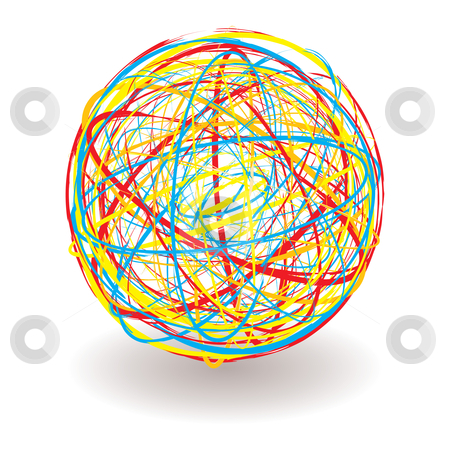 Scribble color ball stock vector clipart, Elastic or rubber band ball illustration with bright colors and shadow by Michael Travers