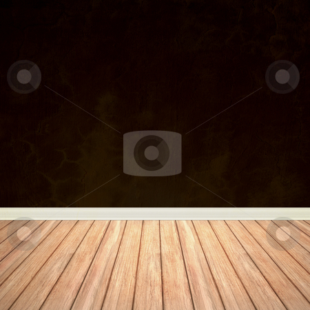 Vintage Room Interior stock photo, An empty room interior backdrop with hard wood flooring and a brown grungy wall. by Todd Arena