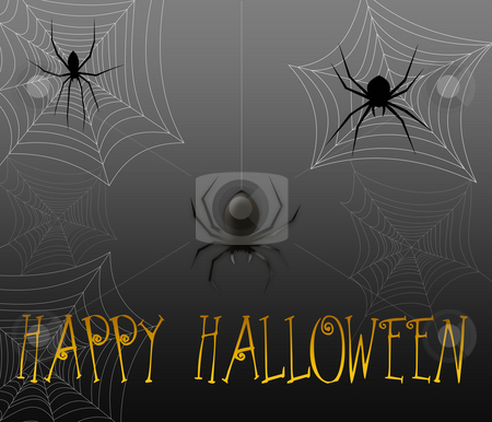 Halloween Spiders stock photo, Halloween greeting with black spiders and spider webs by Leslie Murray