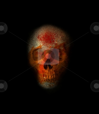 Halloween Skull stock photo, Eerie grinning skull with blood spatter and orange face by Leslie Murray