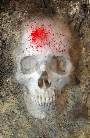 Halloween Skull 3 stock photo, Scary skull with blood spatter by Leslie Murray