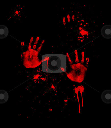 Bloody Hand Prints stock photo, Bloody hand prints and fingerprints on black by Leslie Murray