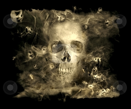 Skull With Smoke Demons stock photo, Skull in a cloud of smoke surrounded by small demons by Leslie Murray