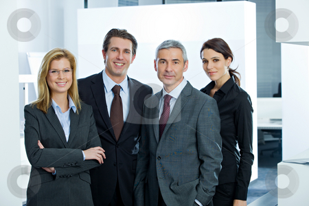 Business People stock photo, Group portrait of colleagues at work by Alexander Beck