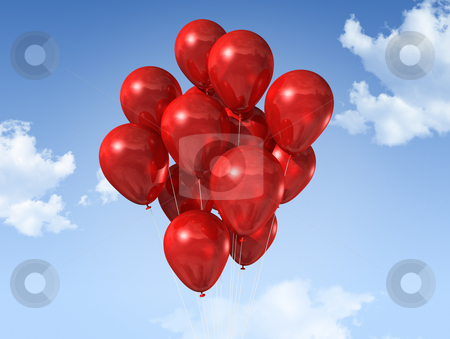 Red balloons on a blue sky stock photo, Red air balloons floating on a blue sky by Laurent Davoust