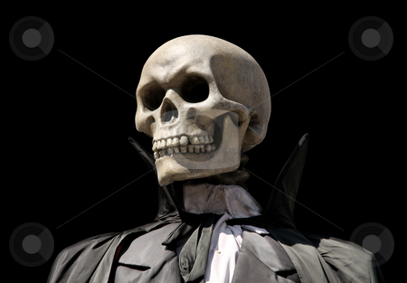 Grim reaper. death's skeleton stock photo, Portrait of a death skeleton, grim reaper isolated on black with clipping path by Laurent Davoust