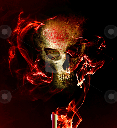 Seance stock photo, Evil grinning skull materializing from red candle smoke by Leslie Murray
