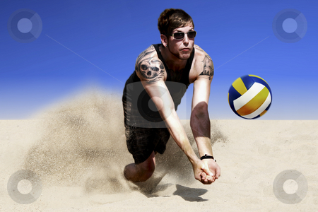 Sand Volleyball Hit stock photo, Dynamic Photo Of A Jump For Hit In A Beach Volleyball Game by Nick Fingerhut