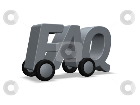 Faq on wheels stock photo, The letters FAQ on wheels - 3d illustration by J?