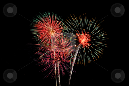 4th of July Fireworks - Red, Green, Purple and Gold stock photo, Fireworks picture taken during the 2010 East Lansing 4th of July fireworks display by Dylan Lees