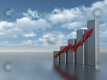 Chart stock photo, Business graph under cloudy blue sky - 3d illustration by J?