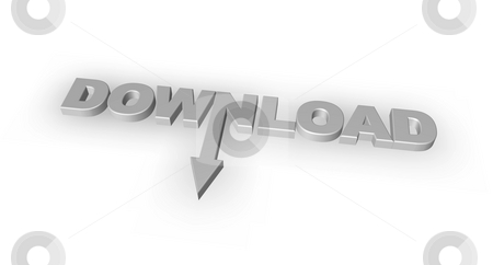 Download stock photo, The word download with an downward arrow - 3d illustration by J?