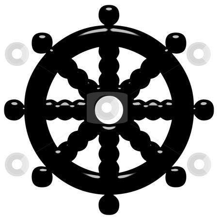 3D Buddhism Symbol Wheel of Dharma stock photo, 3d Buddhism symbol Wheel of Dharma isolated in white by Georgios Kollidas