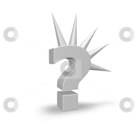 Quest stock photo, Question mark with spikes on white background - 3d illustration by J?