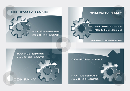 Gear stock vector clipart, Business card templates with gear wheel by J?