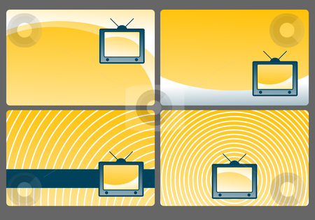 Tv stock vector clipart, Four backgrounds with simple old tv - illustration by J?