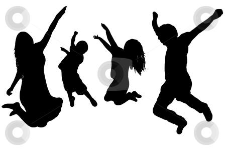 Family stock vector clipart, Black silhouette of a jumping family by Ioana Martalogu