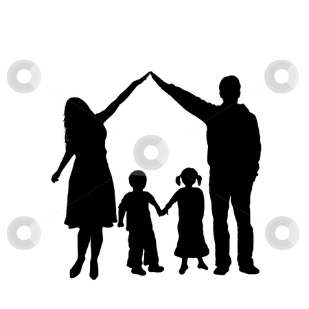 Family stock vector clipart, Caring family silhouette isolated on white by Ioana Martalogu