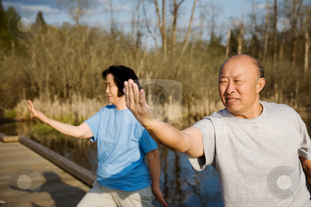 Senior exercise stock photo, A shot of a senior asian couple practicing tai-chi exercise by Suprijono Suharjoto