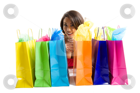 Shopping woman stock photo, An isolated shot of a black woman with shopping bags by Suprijono Suharjoto