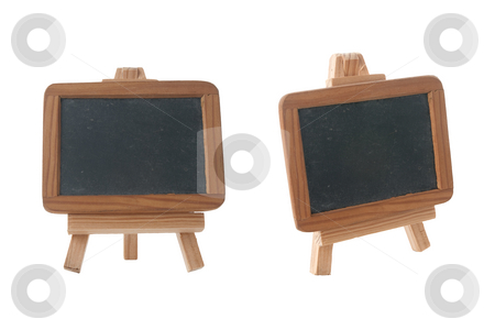 Empty Chalk Board on a easel stock photo, Empty Chalk Board on a easel isolated on white background. by Homydesign