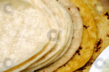 Yellow and White Corn Tortillas stock photo, White and yellow corn tortillas close-up by Lynn Bendickson