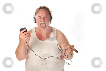 Funny Listening Face stock photo, Sloppy looking man with cigar and mp3 player by Scott Griessel